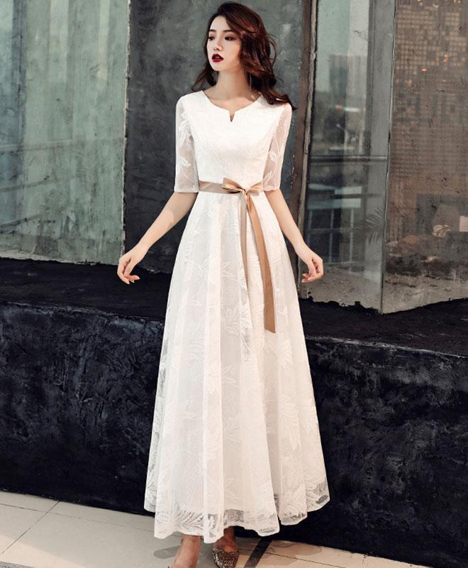 White Lace Tea Length Prom Dress White Lace Bridesmaid Dress
