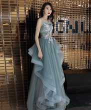 Load image into Gallery viewer, Green Tulle Lace Long Prom Dress, Green Tulle Lace Evening Dress