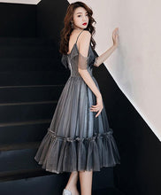 Load image into Gallery viewer, Gray V Neck Tulle Short Prom Dress, Gray Tulle Evening Dress