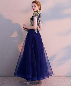 Blue High Neck Lace Tulle Tea Length Prom Dress, Tulle Evening Dress