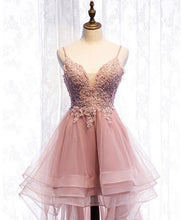 Load image into Gallery viewer, Pink Tulle Lace High Low Prom Dress, Pink Homecoming Dress