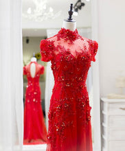 Load image into Gallery viewer, Red Tulle Lace Long Prom Dress, Red Lace Tulle Formal Dress