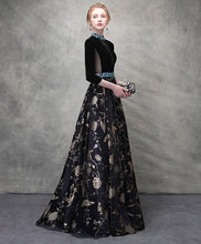 Load image into Gallery viewer, Unique Black Satin Long Prom Dress, Black Evening Dress
