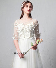 Load image into Gallery viewer, White Round Neck Tulle Long Prom Dress, White Evening Dress