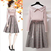 Load image into Gallery viewer, Sweet Off-Shoulder Sweater Grid Skirt Outfits SP14649