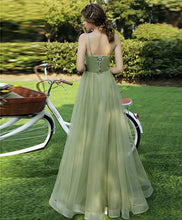 Load image into Gallery viewer, Simple Sweetheart Tulle Green Long Prom Dress Green Evening Dress