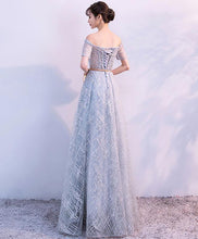 Load image into Gallery viewer, Unique Tulle Gray Long Prom Dress, Tulle Gray Evening Dress
