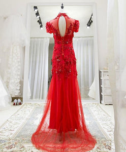 Red Tulle Lace Long Prom Dress, Red Lace Tulle Formal Dress
