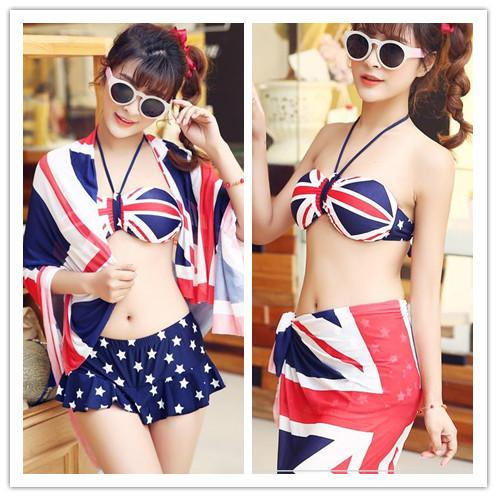 England Flag Printing Halter Style Bikini Swimsuit 3 Pieces Set SP151965