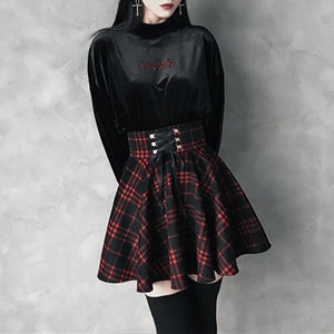 [High Quality] Black-Red Gothic High Waist Laced Plaid Skirt S13026