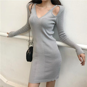 Black/Grey Off-Shoulder Long Sleeve Knitting Dress SP14244