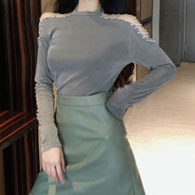 Load image into Gallery viewer, Black/Grey Off-Shoulder Long Sleeves T-Shirt SP13343