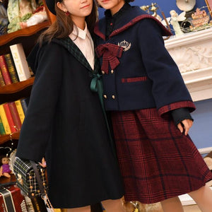 Black/Navy Preppy Woolen Uniform Coat SP13240