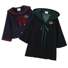 Load image into Gallery viewer, Black/Navy Preppy Woolen Uniform Coat SP13240