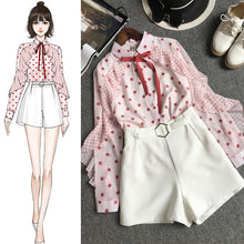 Load image into Gallery viewer, Black/Pink Fairy Spot Bow Chiffon Blouse/Shorts Set SP14040