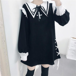 Black/Pink Sweet Laced Sailor Dress S12871