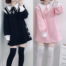 Load image into Gallery viewer, Black/Pink Sweet Laced Sailor Dress S12871