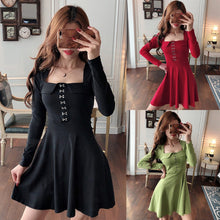 Load image into Gallery viewer, Black/Red/Green Sweet Buttons Long Sleeve Dress SP14365