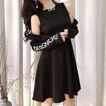 Load image into Gallery viewer, Black/White Gothic Off-Shoulder Long Sleeve Dress SP13313
