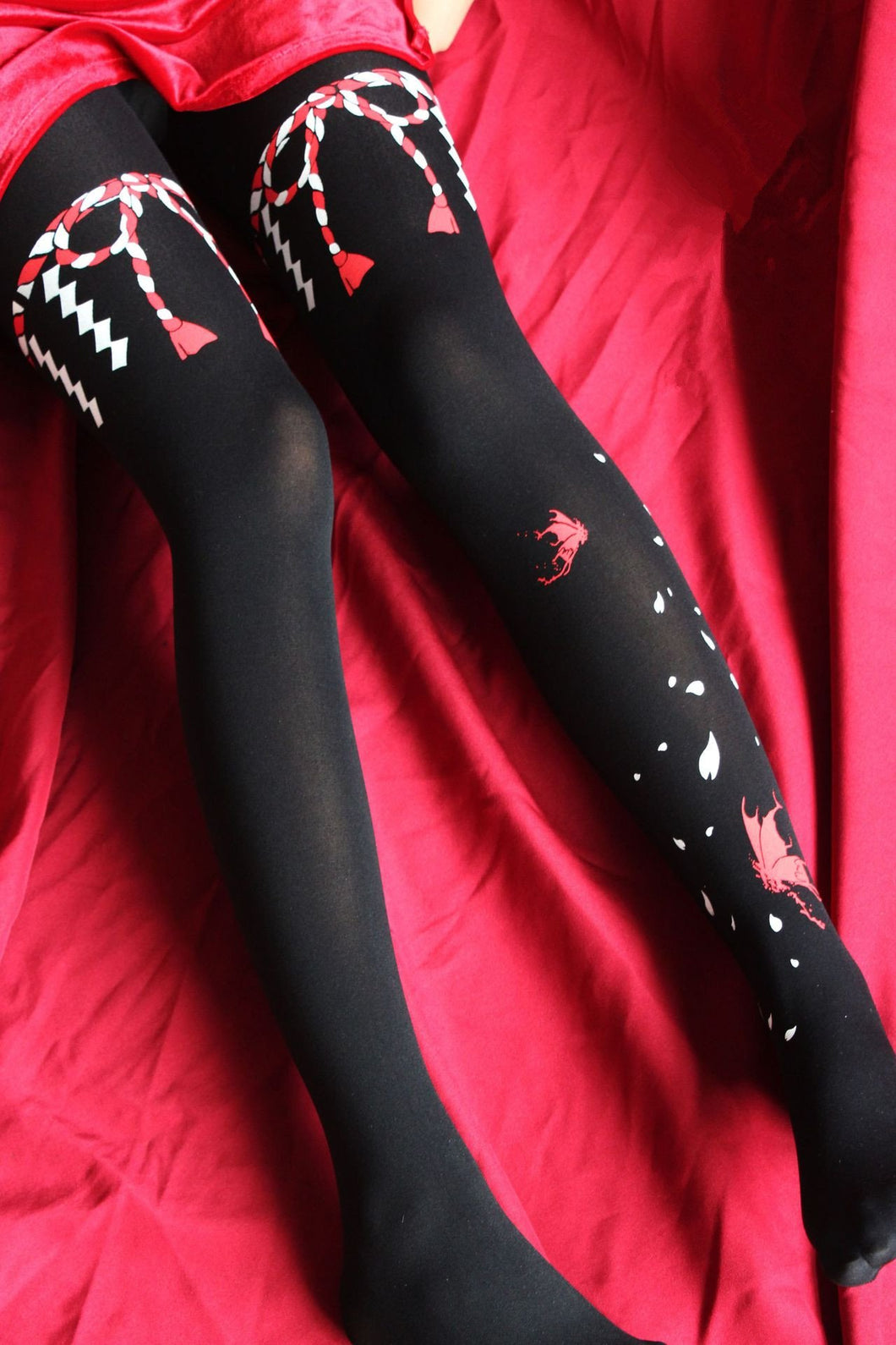 Black/White Harajuku Bow Lolita Tights SP13481