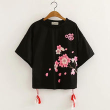 Load image into Gallery viewer, Black/White Kawaii Sakura Tee Shirt SP13704