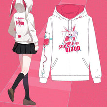 Load image into Gallery viewer, Black/White Kawaii Sick Rabbit Hoodie Jumper S12905