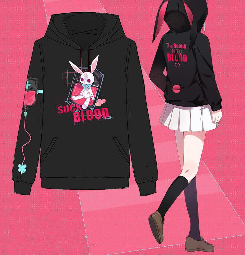 Black/White Kawaii Sick Rabbit Hoodie Jumper S12905
