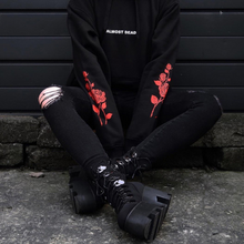 Load image into Gallery viewer, Black ALMOST DEAD Rose Pattern Hoodie Jumper SP13552