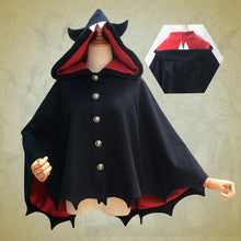Load image into Gallery viewer, Black Devil Bat Ears Hoodie Coat S12907