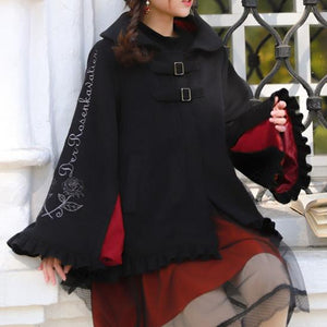 Black Falbala Bat Hoodie Poncho Coat SP13252