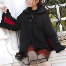 Load image into Gallery viewer, Black Falbala Bat Hoodie Poncho Coat SP13252