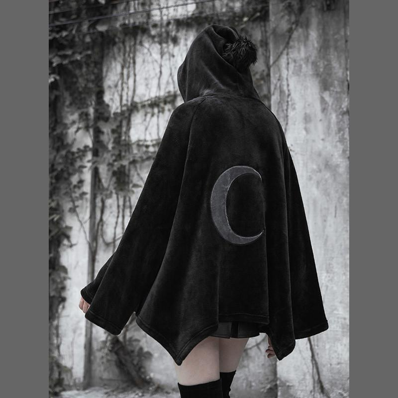 [Reservation]Black Gothic Irregular Embroidered Moon Cape S12935