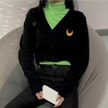 Load image into Gallery viewer, Black Harajuku Moon Cardigan SP13237