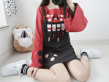 Load image into Gallery viewer, Black Kawaii Fishing Cat Suspender Dress S12883