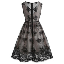 Load image into Gallery viewer, Black Lace Floral Swing Dress SP13906