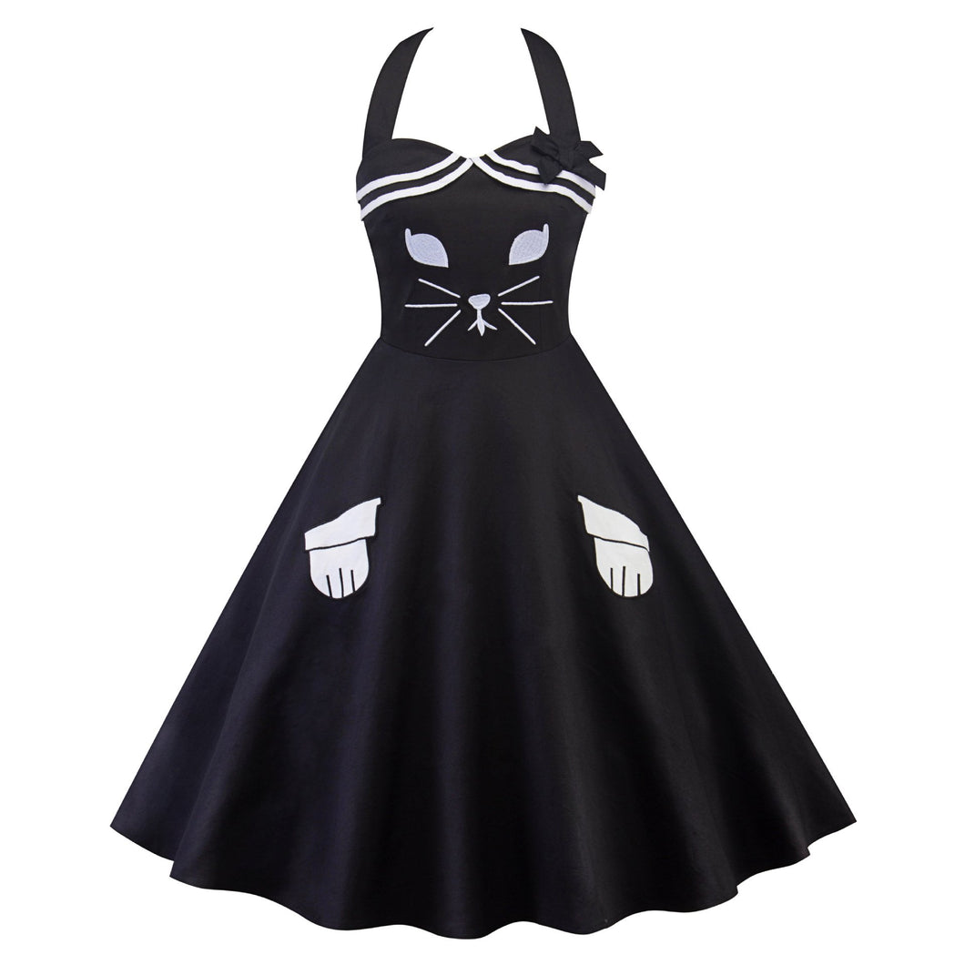 Black Vintage Cat Tube Dress SP13862
