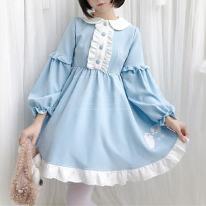 Blue Kawaii Seal Falbala Dress SP13767