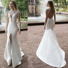Load image into Gallery viewer, Eightree Front Split 2020 Mermaid Wedding Dresses Plus Size High Neck Beads Satin Bridal Gowns Lace Sweep Train Wedding Dress