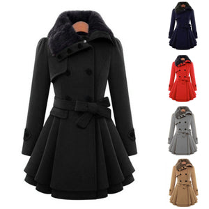 5 Colors Fur Collar Double-breasted Winter Coat SP343
