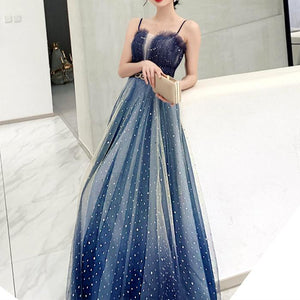 Fairy Gradient Galaxy Tulle Maxi Dress SP14468