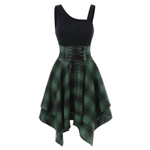 Gothic Lace Up Waist Plaid Irregular Dress SP13721
