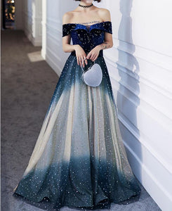 Gradient Off Shoulder Galaxy Paillette Maxi Dress SP14457