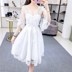 Gray/White/Pink Fairy Lace Flower Dress S12744