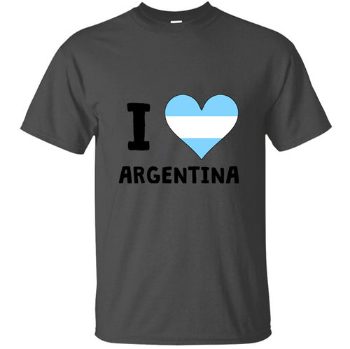 100% Cotton Graphic I Heart Argentina T-Shirt Man Natural Solid Color Mens T Shirt Crazy Hip Hop Classic