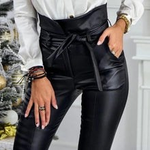 Load image into Gallery viewer, Gold/Black Belt High Waist Faux Leather PU Pencil Pants SP14806
