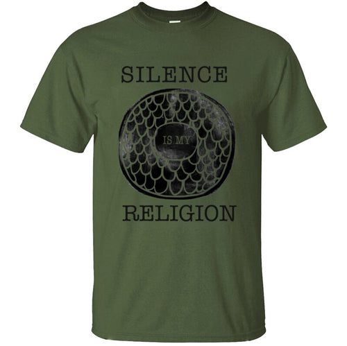 100% Cotton Great Silence Is My Religion Atheist Quote T Shirt Man Formal Men's T Shirt Print Round Collar