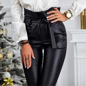 Gold/Black Belt High Waist Faux Leather PU Pencil Pants SP14806