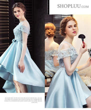 Load image into Gallery viewer, Light Blue Satin Lace Prom Dress, Evening Dress