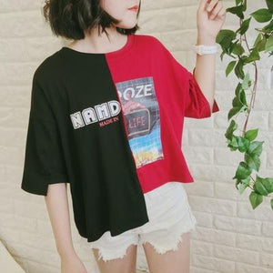 Letter Graphic Contrast Asymmetric Tee Shirt SP13820