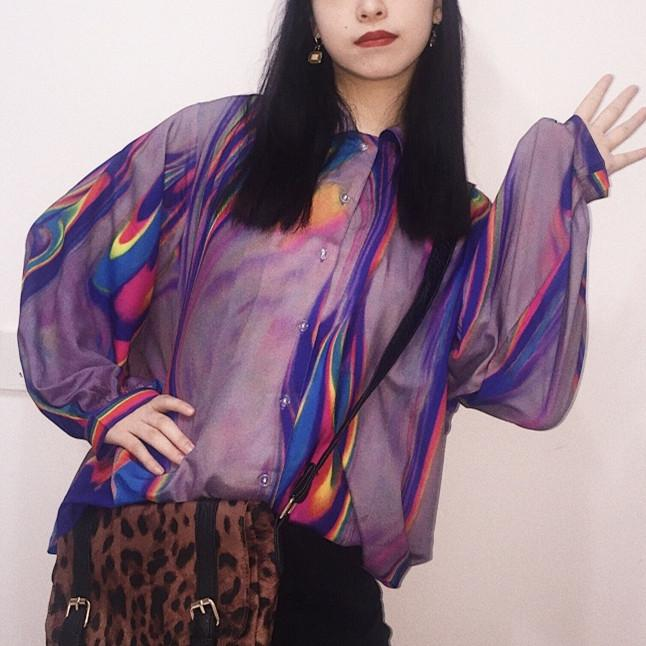 Loose Hologram Long Sleeve Blouse SP13953